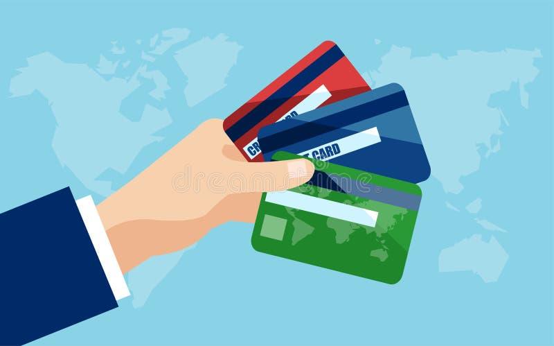 Vecotr de una mano del hombre de negocios que sostiene tarjetas de crédito stock de ilustración