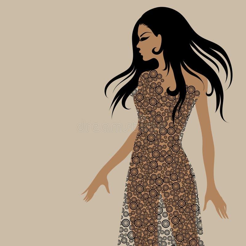vecotr för stående för klänningflicka utsmyckad vektor illustrationer
