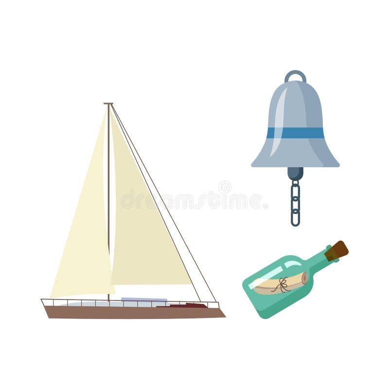 Vecotr flat cartoon nautical, marine symbols set. royalty free illustration