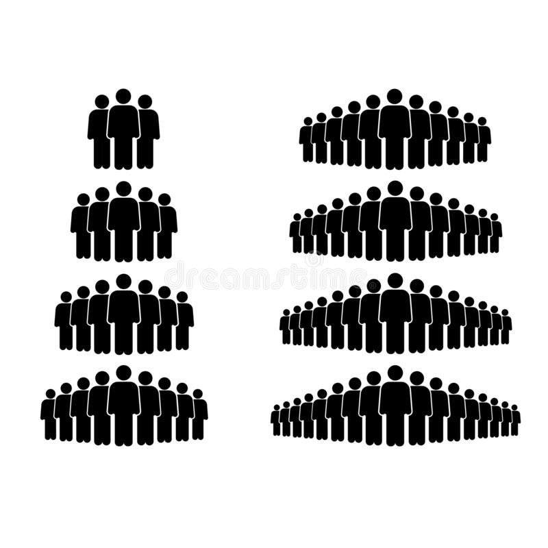Vecotr illustration of crowd of group people icon. Illustration of crowd of people icon silhouettes vector. Social icon. Flat style design. User group network stock illustration