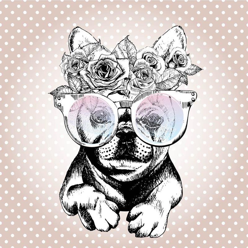 Vecotr stående av hunden och att bära den blom- kransen och solglasögon Avel för fransk bulldogg vektor illustrationer