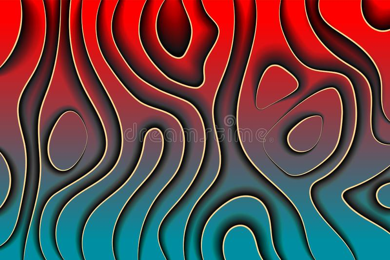 Creative line art. Dark red waves paper style abstract background vector design. Vecror Creative paper card line art. Dark red gradient waves paper style stock illustration