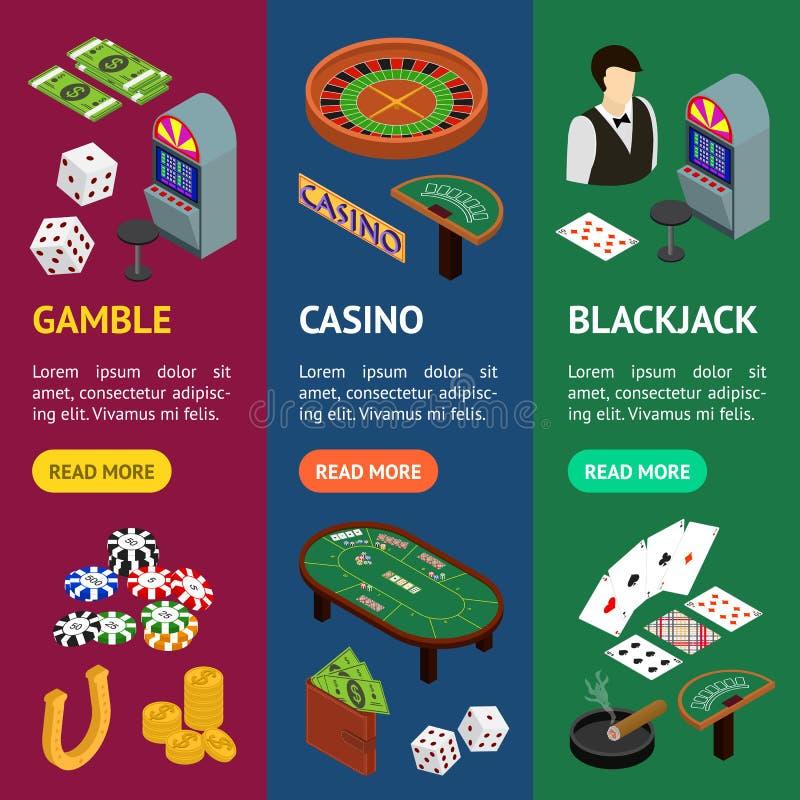 Vecrtical för kasino- och dobblerilekbaner fastställd isometrisk sikt vektor stock illustrationer