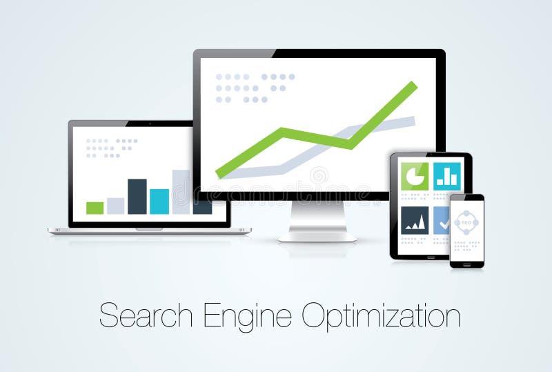 Vect för analys för marknadsföring för sökandemotoroptimization stock illustrationer