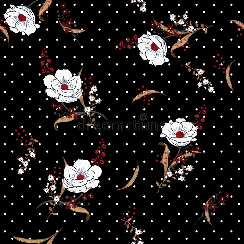 Vect inconsútil floreciente hermoso y del buenazo de las flores blancas del modelo stock de ilustración