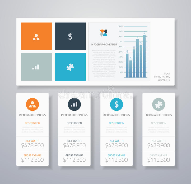 Vect liso infographic mínimo dos elementos do ui do negócio ilustração royalty free