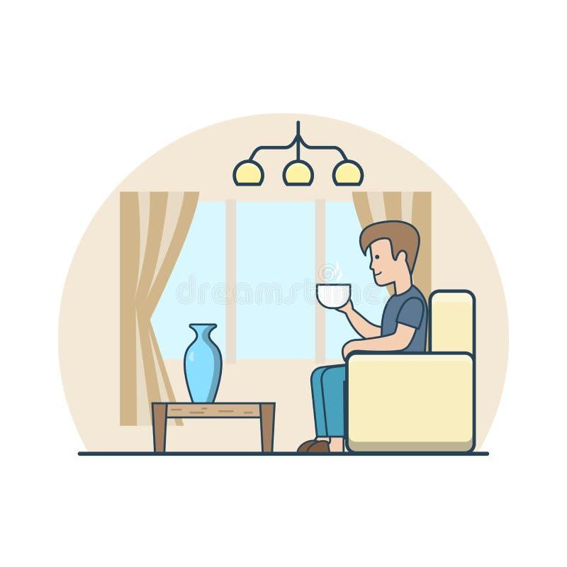 Vect plano linear del interior del hogar del sitio del café del té del hombre libre illustration