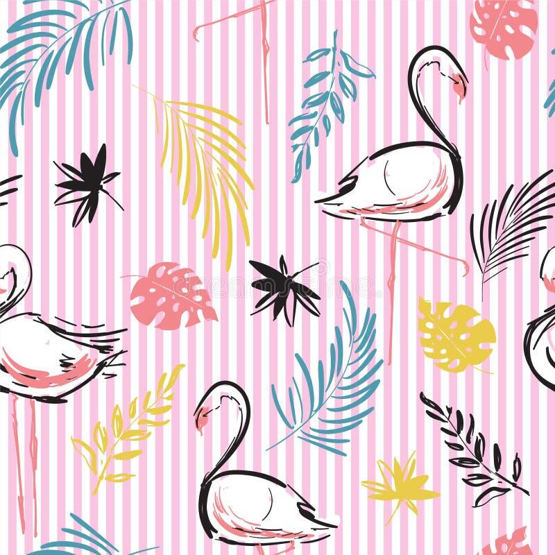 Vect tropical del adorno de la mano de los ambientes del verano del contraste hermoso del dibujo libre illustration