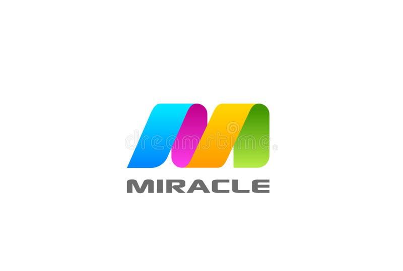 Vect variopinto dell'estratto di progettazione del nastro della lettera m. Logo illustrazione di stock