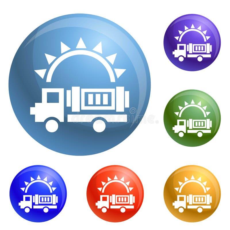 Vecteur à énergie solaire d'ensemble d'icônes de camion illustration stock