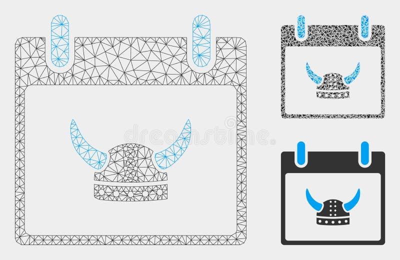 Vecteur à cornes Mesh Wire Frame Model de jour civil de casque et icône de mosaïque de triangle illustration stock