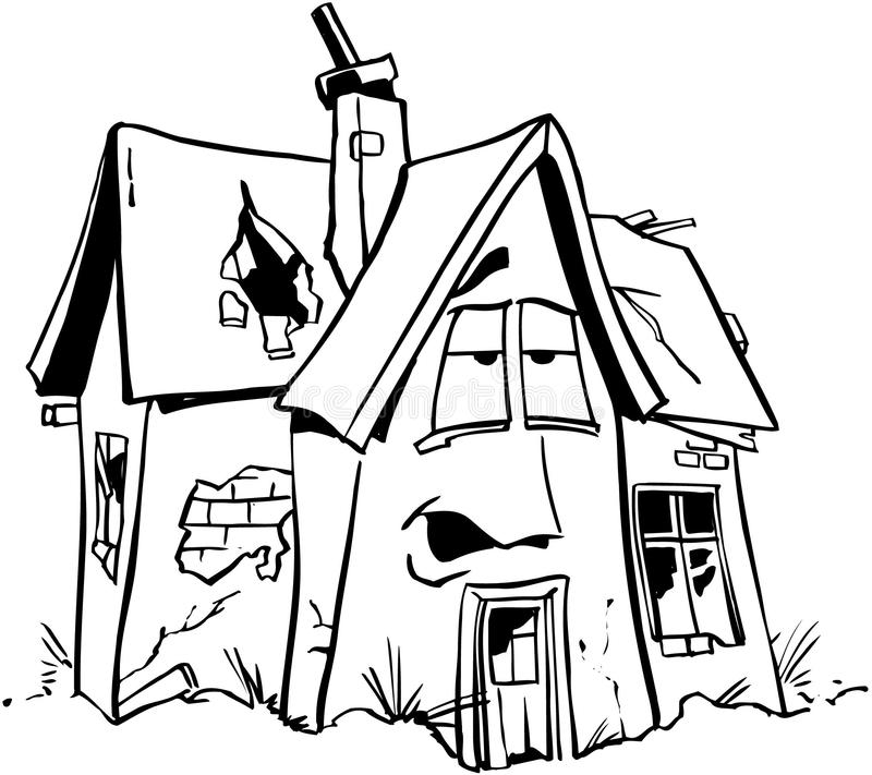 Vecteur à la maison Clipart de bande dessinée d'immobiliers de réparation illustration stock