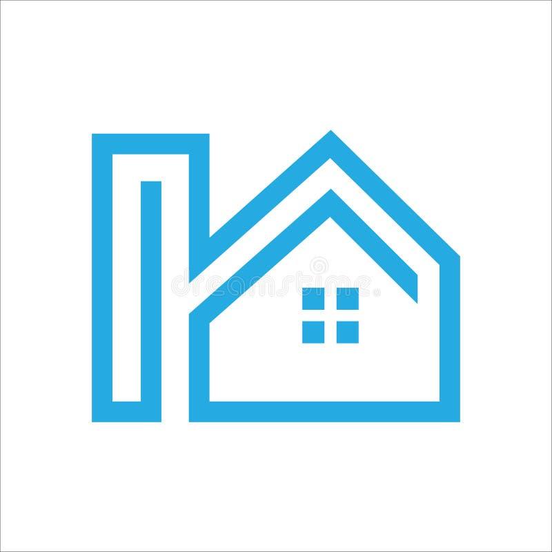 Vecteur à la maison de construction de logo de Blue Line illustration stock
