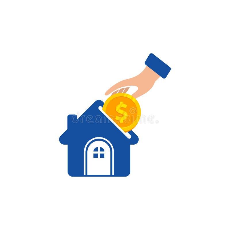 Vecteur à la maison de logo d'investissement illustration à la maison de symbole d'icône d'investissement illustration libre de droits