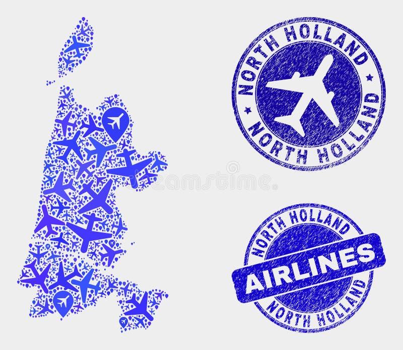 Vecteur à trajectoire aérienne Holland Map du nord de collage et joints grunges illustration stock