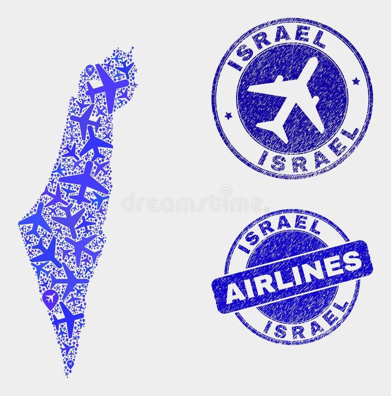 Vecteur à trajectoire aérienne Israel Map de composition et timbres grunges illustration libre de droits