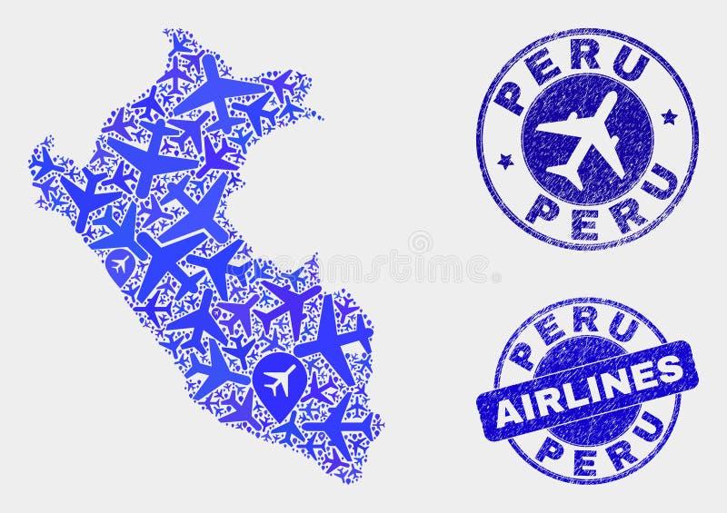 Vecteur à trajectoire aérienne Peru Map de composition et joints grunges illustration de vecteur