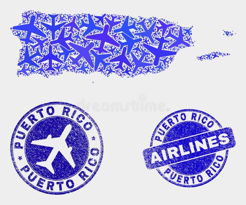 Vecteur à trajectoire aérienne Puerto Rico Map de composition et joints grunges illustration stock