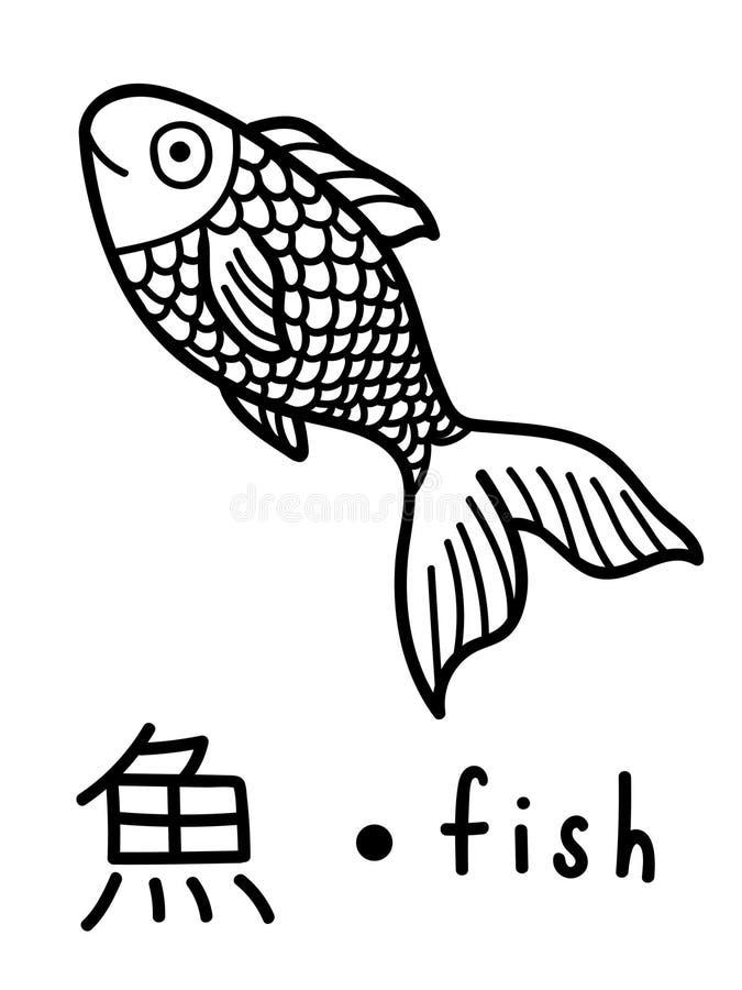 Vecteur éducatif japonais de flashcard de kanji de poissons illustration de vecteur