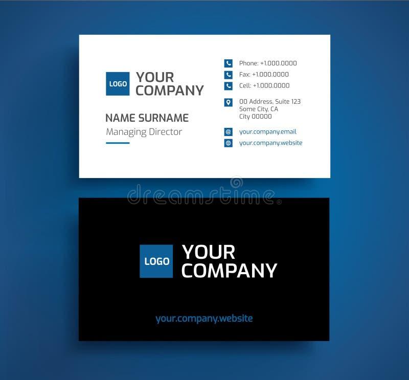 Vecteur élégant de calibre de carte de visite professionnelle de visite - bleu minimaliste, noir, illustration stock