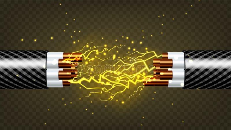 Vecteur électrique de câble de coupure Électricien Rubber Cord Câblage cuivre Étincelles de circuit illustration 3D d'isolement r illustration stock