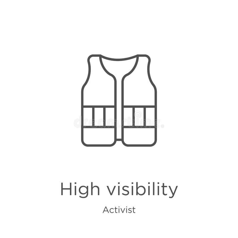 vecteur élevé d'icône de visibilité de collection d'activiste Ligne mince illustration élevée de vecteur d'icône d'ensemble de vi illustration libre de droits