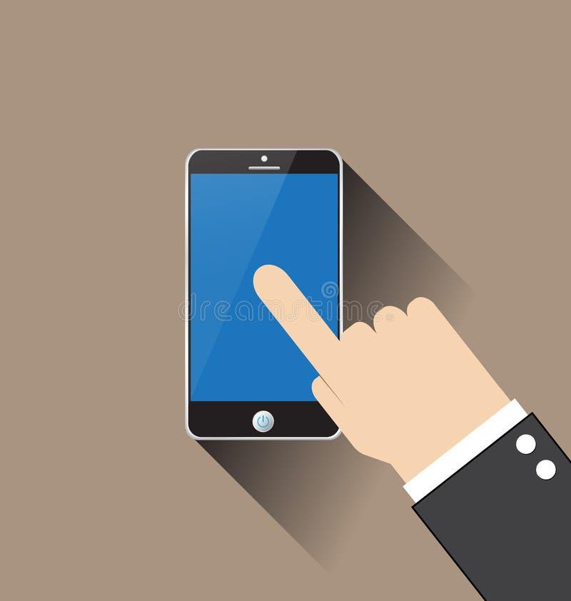 Vecteur émouvant de smartphone de main illustration libre de droits