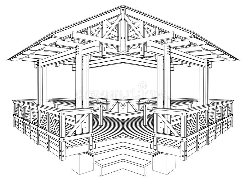 Vecteur 03 de Pergola illustration stock