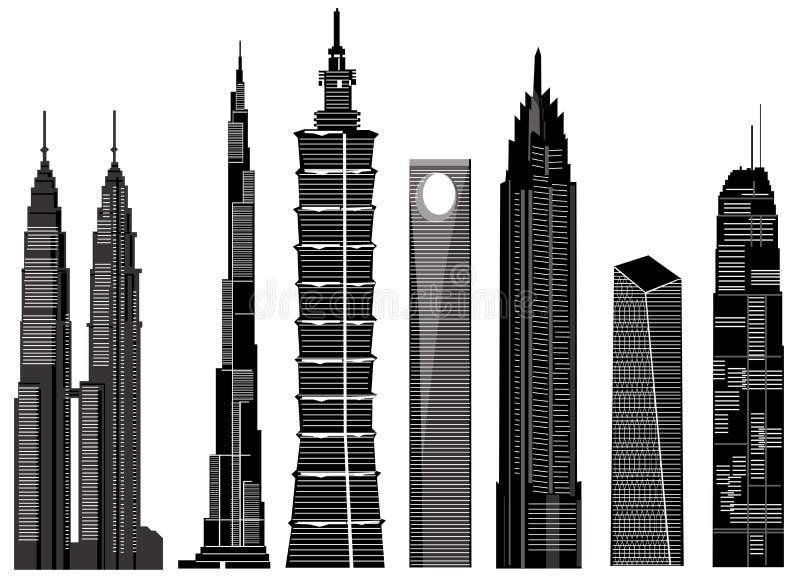 Vecteur 1 de constructions de gratte-ciel illustration stock