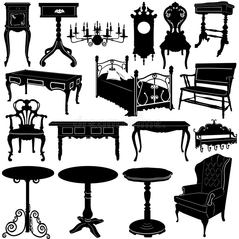 Vecteur 2 de meubles antiques illustration libre de droits