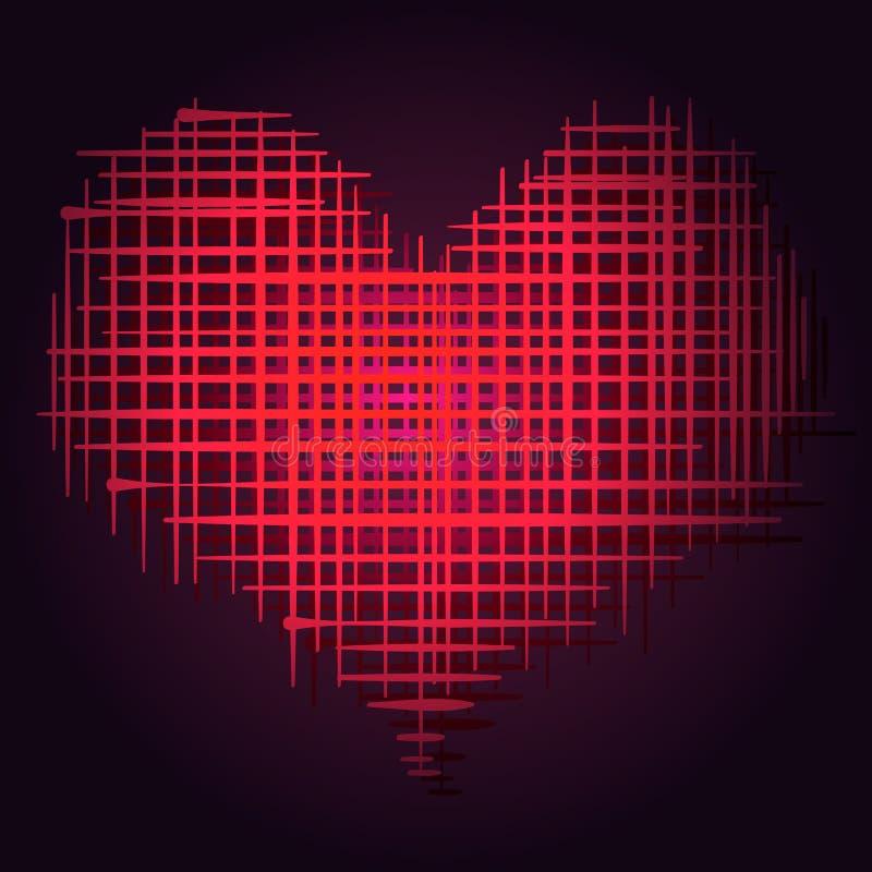 Vecteur Abstact Valentine Day Postcard - symbole d'amour de coeur sur le fond foncé illustration libre de droits