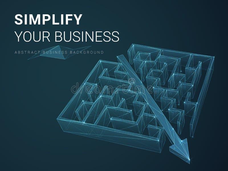 Vecteur abstrait d'affaires dépeignant la simplification avec des lignes dans la forme d'une flèche perçant par un labyrinthe sur illustration de vecteur
