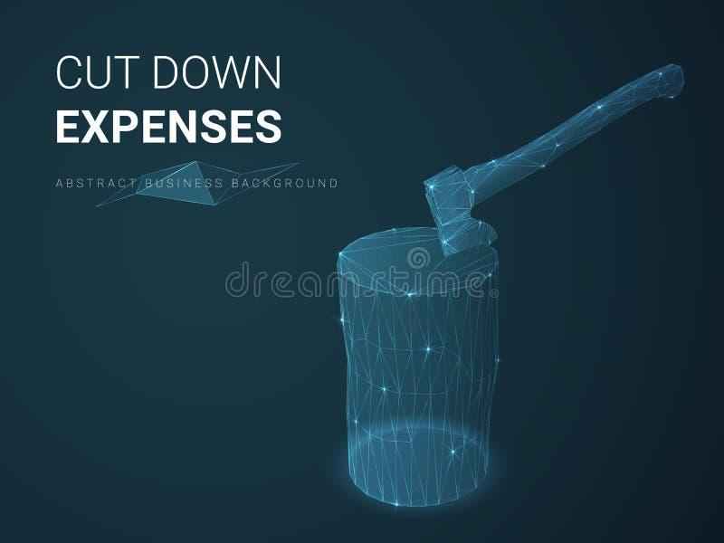 Vecteur abstrait de fond d'affaires dépeignant réduisant des dépenses avec des lignes dans la forme d'une hache dans un tronçon s illustration de vecteur