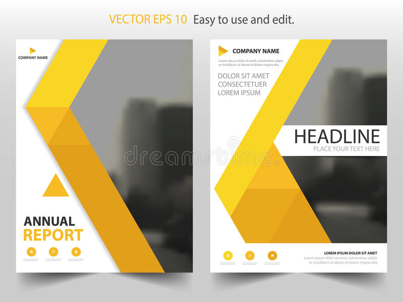 Vecteur abstrait jaune de calibre de conception de brochure de rapport annuel de triangle Affiche infographic de magazine d'insec illustration stock