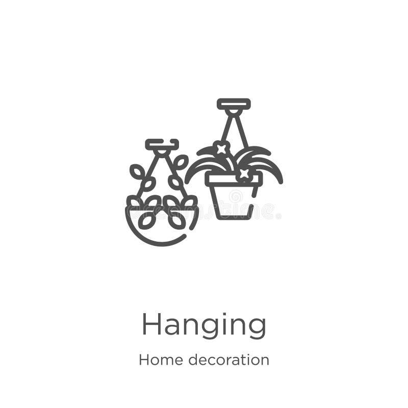 vecteur accrochant d'icône de la collection à la maison de décoration Ligne mince illustration accrochante de vecteur d'icône d'e illustration stock