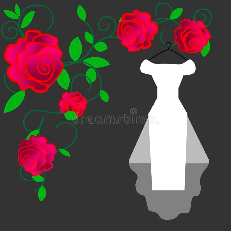Vecteur accrochant de robe de mariage Robe l'épousant blanche nuptiale avec le cintre illustration stock