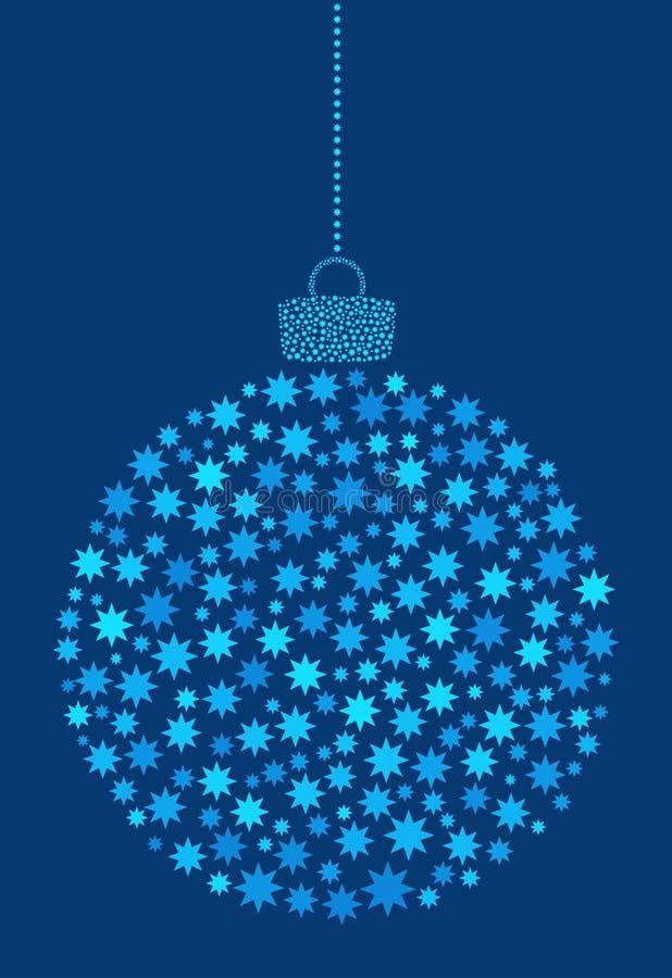 Vecteur accrochant la boule abstraite de Noël se composant de l'astérisque, icônes de fleur sur le fond bleu illustration libre de droits