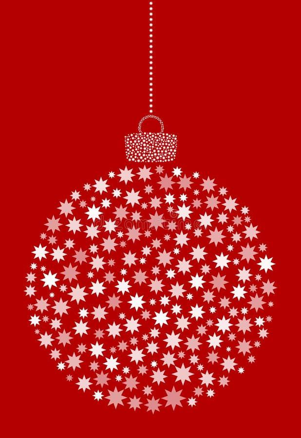 Vecteur accrochant la boule abstraite de Noël se composant de l'astérisque, icônes de fleur sur le fond rouge illustration stock