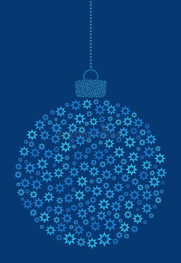 Vecteur accrochant la boule abstraite de Noël se composant de la ligne astérisque, icônes de fleur sur le fond bleu illustration stock