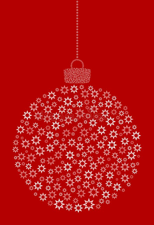 Vecteur accrochant la boule abstraite de Noël se composant de la ligne astérisque, icônes de fleur sur le fond rouge illustration libre de droits