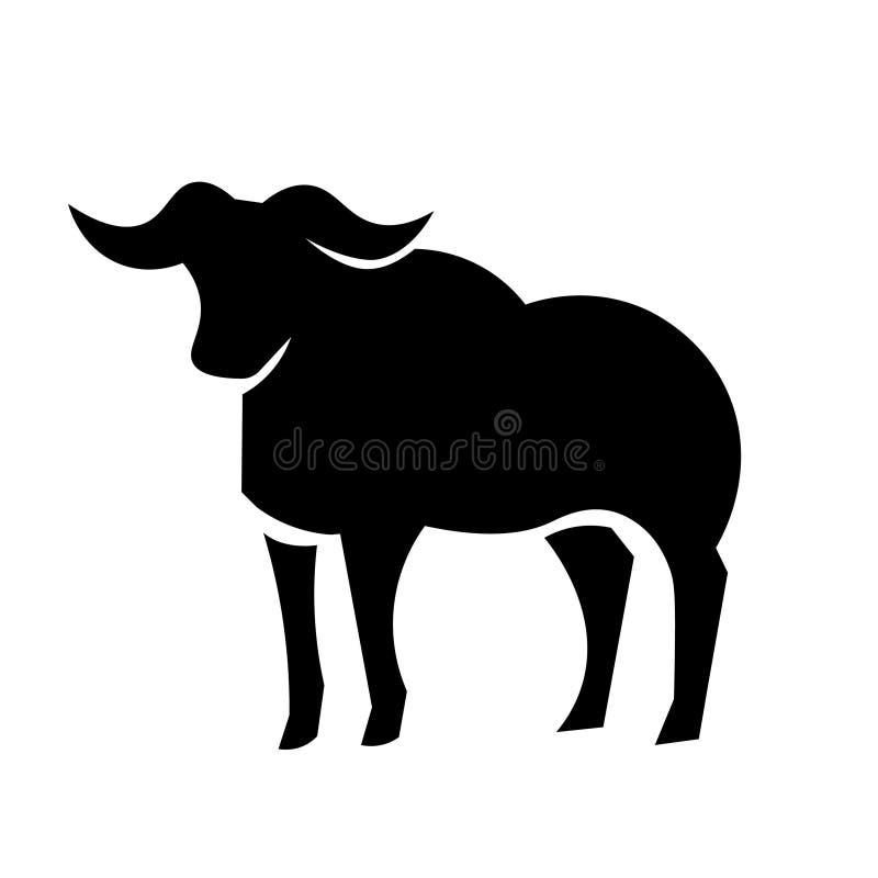 Vecteur africain d'icône de Buffalo illustration de vecteur