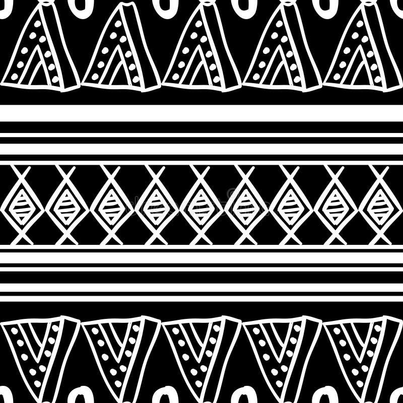 Vecteur africain de modèle avec le dessin ethnique noir et blanc géométrique tribal tiré par la main Illustration sans couture de illustration stock