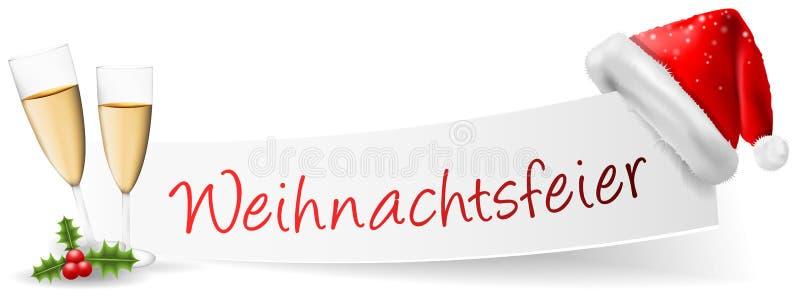 Vecteur allemand d'isolement par bannière de fête de Noël de Weihnachtsfeier illustration libre de droits