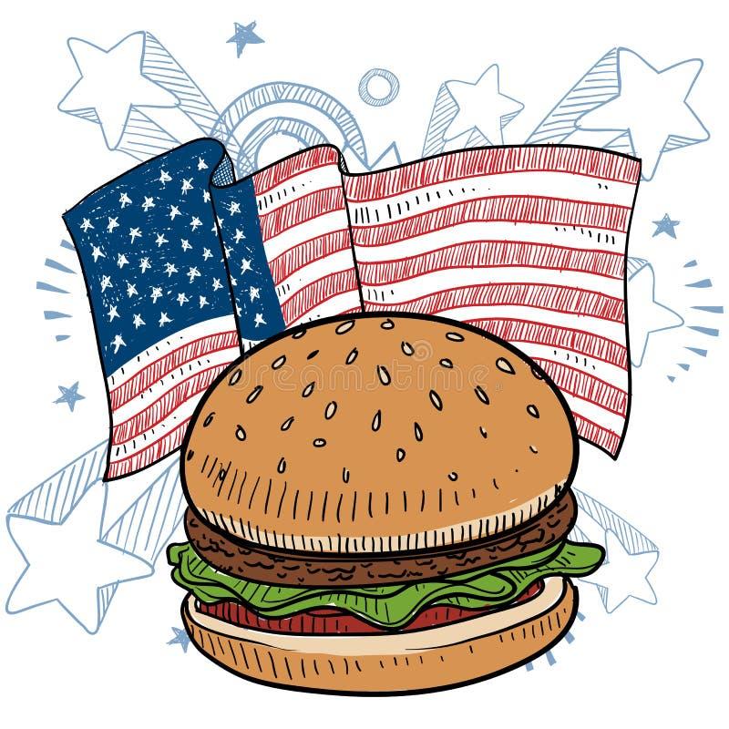 Vecteur américain d'hamburger illustration libre de droits