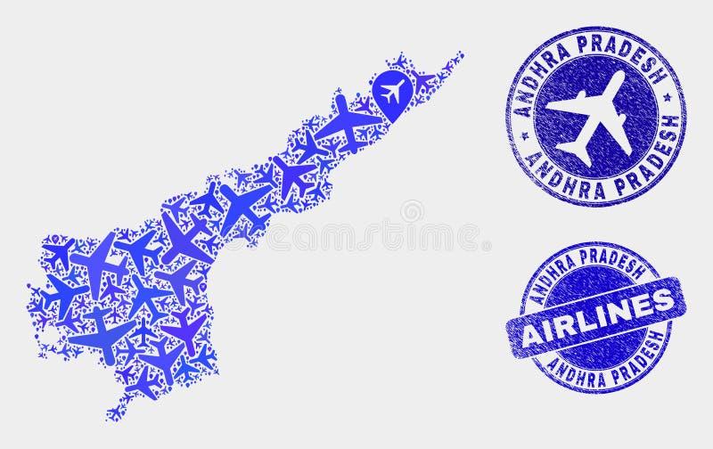 Vecteur Andhra Pradesh State Map de composition en avion et timbres grunges illustration libre de droits