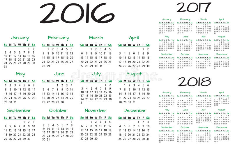 Vecteur anglais du calendrier 2016-2017-2018 illustration de vecteur