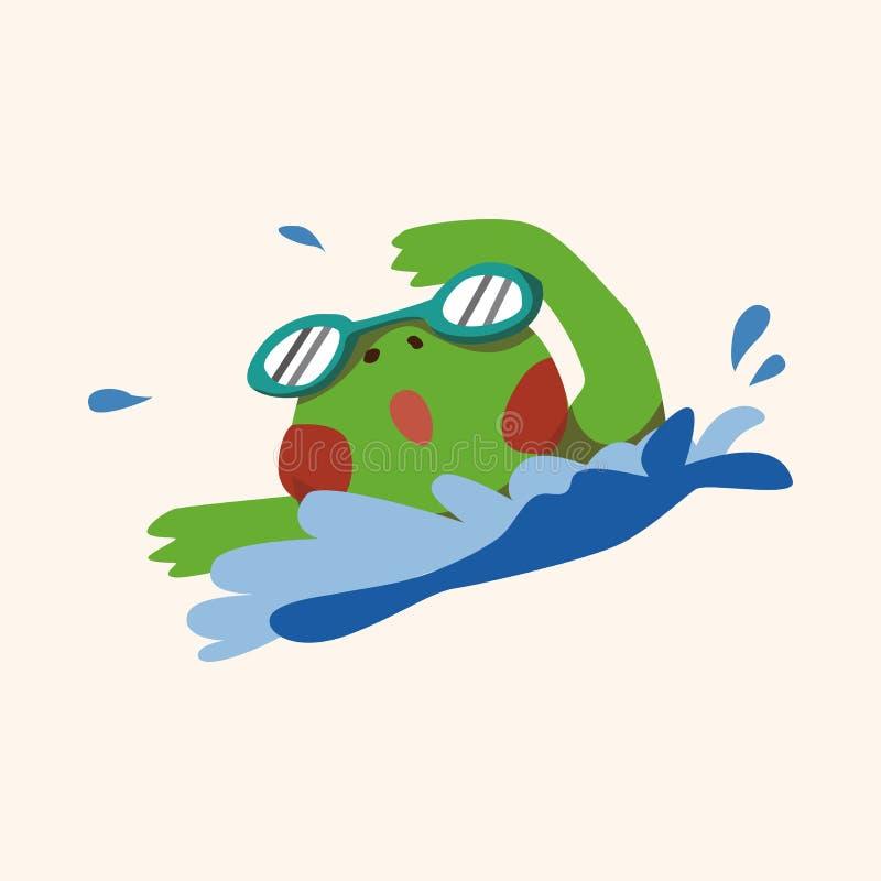 Vecteur animal d'éléments de bande dessinée de grenouille de sport illustration de vecteur