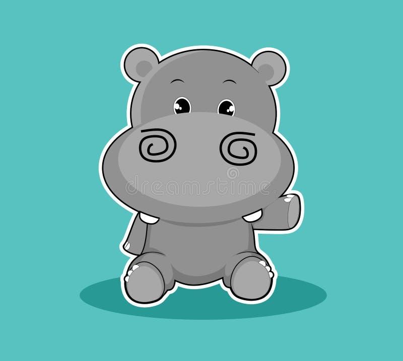 Vecteur animal mignon de mascotte d'hippopotame de personnage de dessin animé photos stock