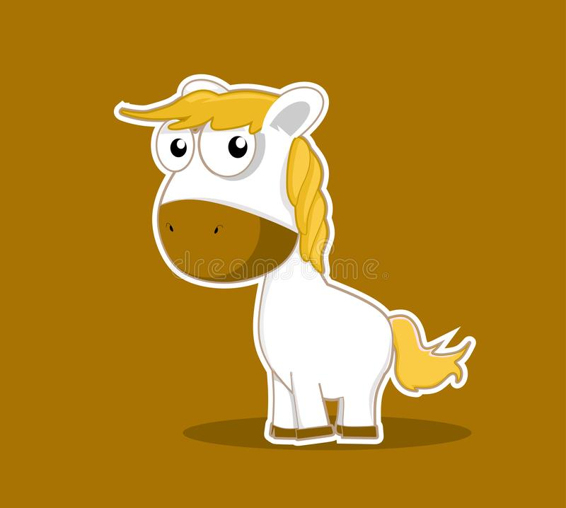 Vecteur animal mignon de mascotte de poney de personnage de dessin animé photo libre de droits