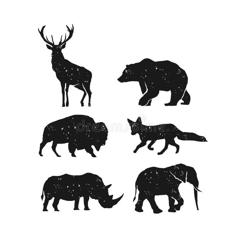 Vecteur animal rustique de paquet, vecteur d'éléphant de rhinocéros de renard de bison d'élans d'ours illustration stock